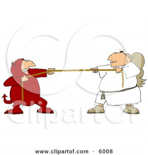 Tug Of War Battle Between Good and Evil Devil and Angel