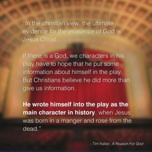Quote from A Reason For God by Pastor Tim Keller.
