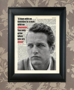 Paul Newman quote / Upcycled Antique Dictionary Art Print / 8.5