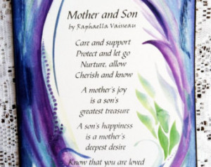 MOTHER and SON Original Poem Inspir ational Quote Family Child Saying ...