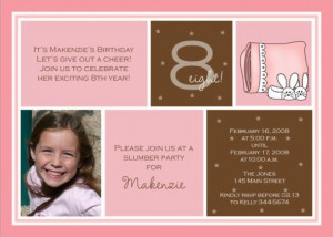 8th Birthday Invitation for Makenzie ~ Slumber Party Photo Card