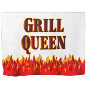 Grill Queen Red Flames BBQ Kitchen Towel