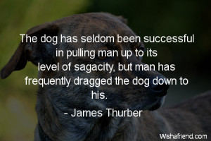 The dog has seldom been successful in pulling man up to its level of ...