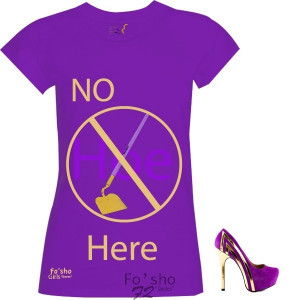 No hoe here- purple, gold