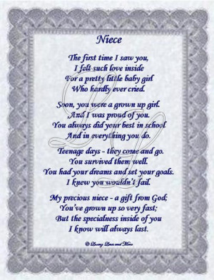 my niece quotes and pics | Niece poem is about a special niece. Poem ...