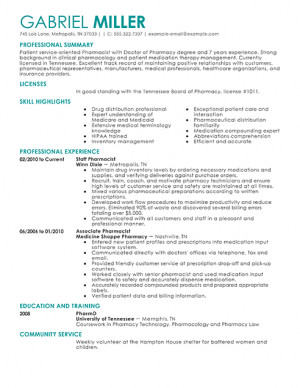 Pharmacy Technician Resume Gag