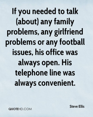 ) any family problems, any girlfriend problems or any football issues ...