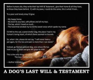 dogs last will