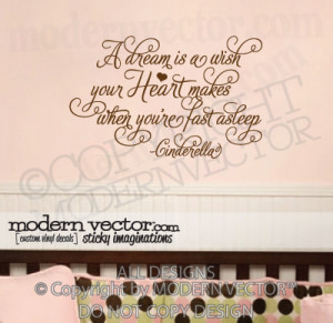 Details about Disney CINDERELLA Nusery Quote Vinyl Wall Decal HEART