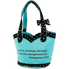 Bible Quotes Polka Dot Design with Bowtie Shoulder Bag Handbag Purse ...