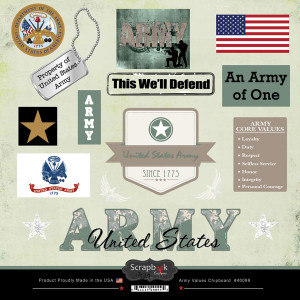 ... Military Collection - 12 x 12 Laser Cut Chipboard Pieces - Army Values