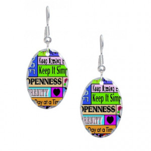 12 Steps Gifts > 12 Steps Jewelry > 12 step sayings Earring Oval Charm