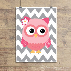 Sweet Chevron Owl Wall Quotes™ Giclée Art Print