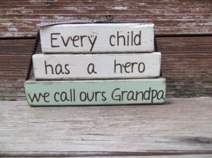 Grandpa My Hero Blocks Fathers Day Stacker Papa Birthday