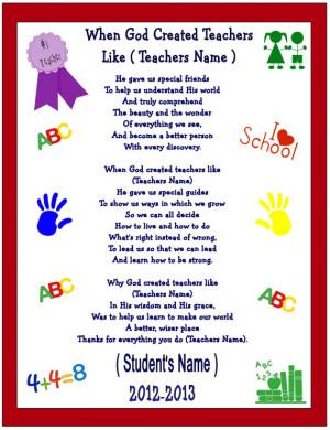 Thank You Preschool Teacher...