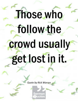 Don't Follow The Crowd