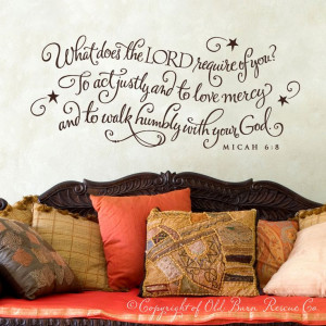 What does the Lord require of you...scripture quote wall graphic ...