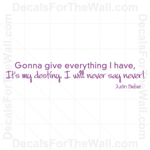 Justin-Bieber-Never-Say-Never-Girl-Wall-Decal-Vinyl-Art-Sticker-Quote ...