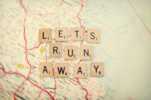 let's run away Art Print