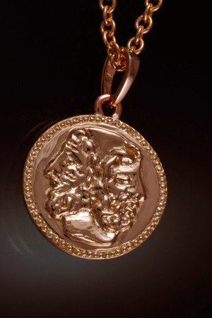Finished Janus pendant (front view)