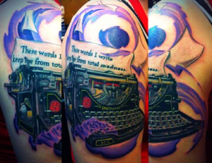 The start to my literary themed sleeve. Bukowski quote, typewriter ...