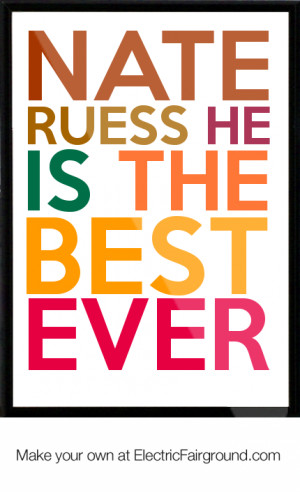Nate Ruess he is the best ever Framed Quote