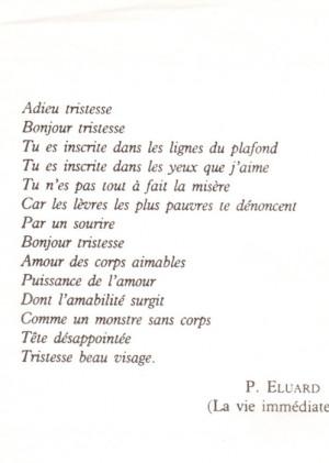 paul eluard # eluard # adieu tristesse # bonjour tristesse ...