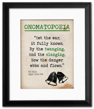 The Bells Onomatopoeia Quote, Educational Art Print featuring Edgar ...