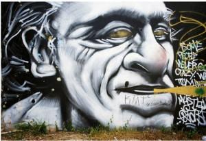 "Charles Bukowski graffiti in Austin, TX: ""Some people never go crazy ..."