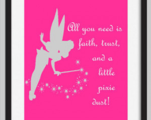 Tinkerbell Pixie Dust Quote Print- Girls Room Decor ...
