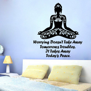 Wall Decals Girl Quote Yoga Worrying Doesn't Take Away Tomorrow's ...