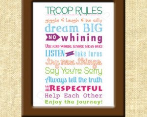 Girl Scouts Troop Rules Subway Art Printable Wall Art by ...