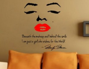 Home Wall Vinyl Marilyn Monroe Wall Decal Decor Quote Face Red Lips ...