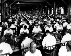 Inside an Ybor City cigar factory ca. 1920