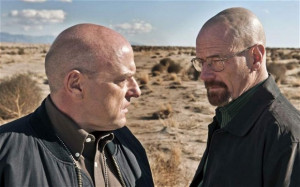Final showdown: Dean Norris (L) as Hank Schrader and Bryan Cranston (R ...