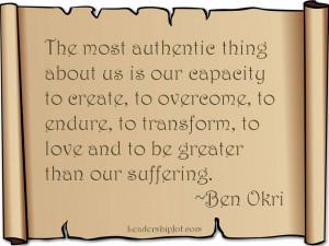 Ben Okri quote on human authenticity
