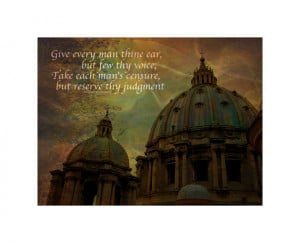 Reserve Thy Judgment - Shakespeare Quote - Shakespeare's Dreams - 8x10 ...