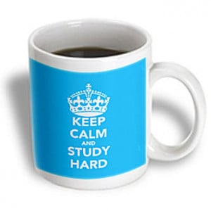 3dRose - EvaDane - Funny Quotes - Keep calm and study hard. Light Blue ...