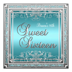 images of sweet sixteen birthday 16 16th teal blue silver party ...