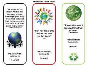 Bookmarks With Quotes - 3 (earth Theme)