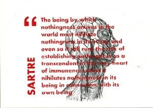 SARTRE QUOTE SCREEN-PRINT WITH ANATOMY DRAWINGS