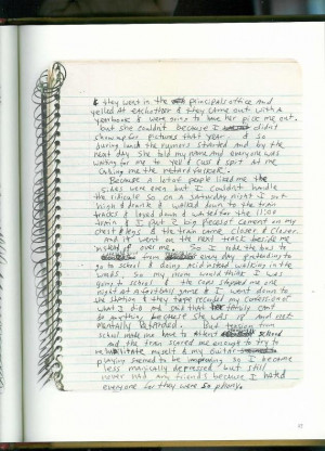 Kurt Cobain's account of his first suicide attempt, taken from his ...