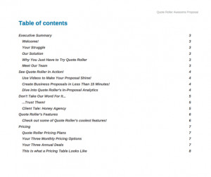 Table of Contents Quote