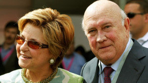 Former South African President FW de Klerk and his wife Elita. Credit ...