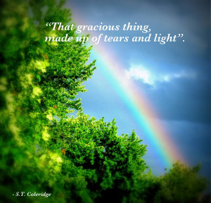 The rainbow in my backyard on May 15th, 2010 with the quote I love.