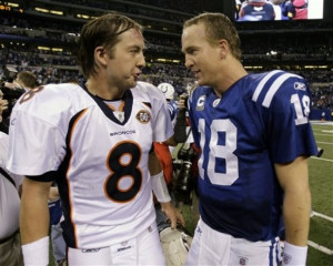 Indianapolis Colts quarterback Peyton Manning, right, talks with ...