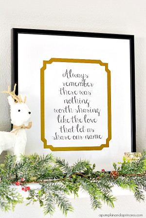 ... Framing with Holiday Decor – a custom framed family quote printable