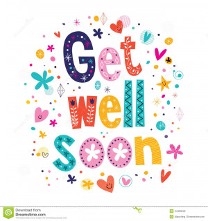 Get well soon lettering text greeting card.
