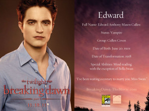 Edward Cullen breaking dawn part 1
