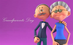 The Pictures Of Two Cartoon Grandparents Character For Facebook Cover.